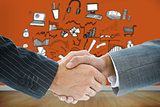 Composite image of business handshake against brainstorm