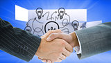 Composite image of business handshake against bulb