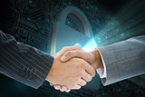Composite image of business handshake against shiny lock