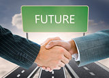 Composite image of business handshake against future board