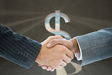 Composite image of business handshake against dollar sign