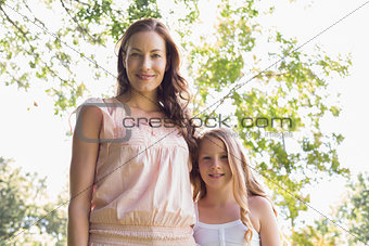 Portrait of woman and daughter in park