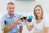 Portrait of a couple toasting wine glasses in kitchen