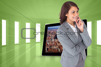 Composite image of smiling thoughtful businesswoman