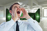 Composite image of businessman shouting