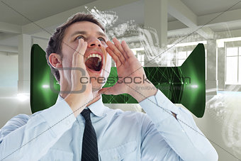 Composite image of businessman shouting