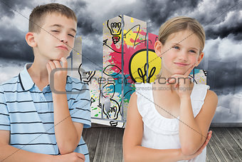 Composite image of thoughtful brother and sister posing together