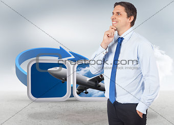 Composite image of thinking businessman touching his chin