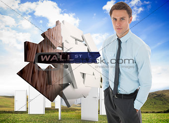 Composite image of serious businessman with hands in pockets