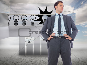 Composite image of stern businessman with hands on hips