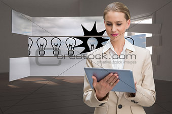 Composite image of thoughtful stylish businesswoman looking at tablet