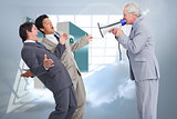 Composite image of senior salesman with megaphone yelling at his employees