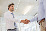 Young businessmen shaking hands in office