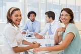 Group of happy business people in meeting at office