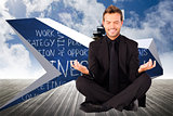 Composite image of happy man doing yoga exercises