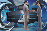 Composite image of two businesswomen shaking hands