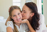 Mother kissing daughter at home