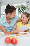 Mother and daughter with greeting card at breakfast table