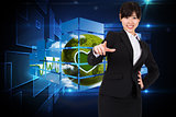 Composite image of smiling businesswoman pointing