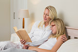 Mother and daughter reading novel in bed