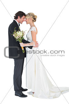 Bride and groom with head to head