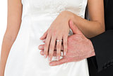 Mid section of bride and groom wearing wedding ring