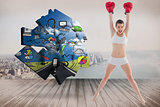 Composite image of confident fit brown haired model in sportswear jumping and wearing boxing gloves
