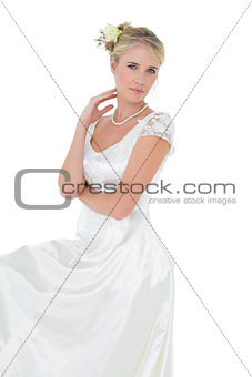 Portrait of bride over white background