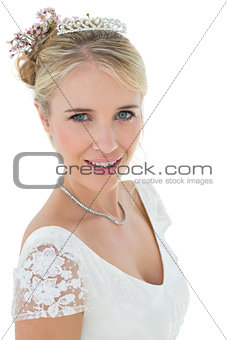 Smiling bride against white background