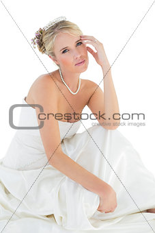 Portrait of sensuous bride over white white background