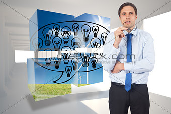 Composite image of thinking businessman biting glasses