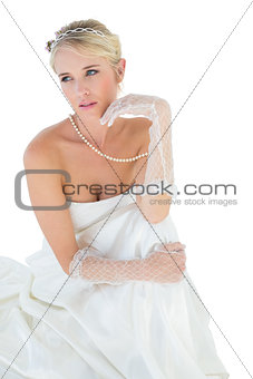 Bride thinking over white background
