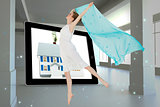 Composite image of young beautiful female dancer with blue scarf