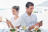 Couple text messaging at food table