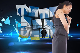 Composite image of thinking asian businesswoman