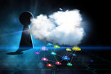Composite image of cloud computing background