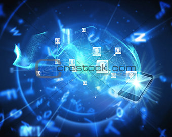 Composite image of social network background