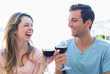 Cheerful young couple toasting wine glasses