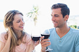 Young couple toasting wine glasses