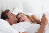 Relaxed couple using digital tablet in bed