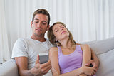 Couple listening music with mobile phone