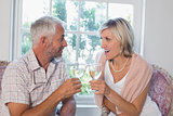 Happy mature couple with wine glasses at home
