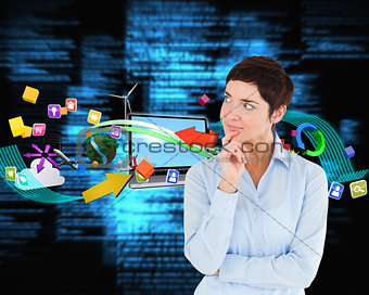 Composite image of thoughtful businesswoman with hand on her chin