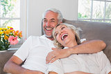 Cheerful mature couple sitting on couch