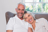 Portrait of a smiling mature couple sitting on sofa