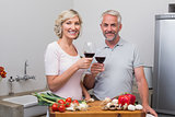 Mature couple toasting wine glasses while preparing food