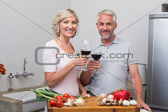 Mature couple toasting wine glasses while preparing food
