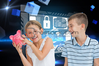 Composite image of smiling young girl holding piggy bank