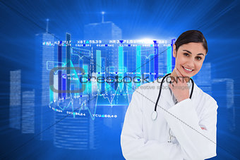 Composite image of smiling female doctor in thinkers pose