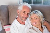 Close-up portrait of a happy relaxed mature couple